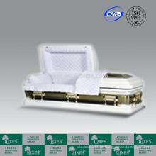 LUXES estilo americano branco 18ga Metal caixão caixão branco caixões