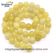 Heiß-Verkauf neuer Ankunfts-natürlicher Edelstein-loser Strang 4 6 8 10 12mm natürlicher Zitrone-Jade-Stein rau
