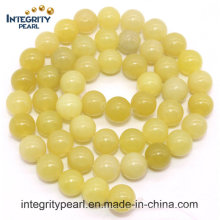 Hot-Selling New Arrival Natural Gemstone Loose Strand 4 6 8 10 12mm Natural Lemon Jade Stone áspero