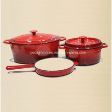 3PCS Enamel Cast Iron Cookware Set FDA Approved Factory