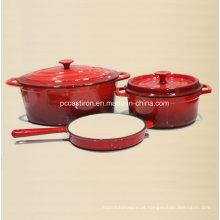 Conjunto de utensílios de cozinha de ferro fundido do esmalte 3PCS Fábrica aprovada pelo FDA
