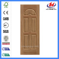 JHK-015 French Style Diagonal Grain Teak Veneer Unequal Leaf Door Skin  Diagonal Grain Teak Veneer Door Skin