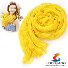 Bufanda de seda suave larga de la gasa del color del caramelo de la muchacha de las mujeres que envuelve las bufandas de Pashmina del mantón