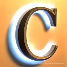 Sinal exterior plástico acrílico iluminado do anúncio ou do metal do diodo emissor de luz