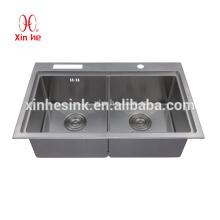 Pia de cozinha de aço inoxidável artesanal do SUS 304, lavatório
