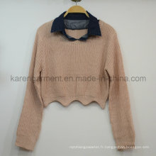 Denim Collar Scallop Cropped Sweater Petite Vêtements