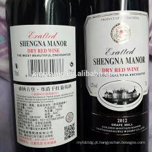 impressão privada adesiva feita sob encomenda do tamanho da etiqueta da garrafa de vinho