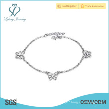 Best quality design white gold plated copper silver anklet chain chain anklet