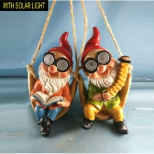 Lovely Swinging Dwarf with Solar Light Polyresin Hanging Garden Decoration