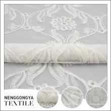 Vestidos de noite de poliéster decorativos bordado poliéster floral tecido de renda