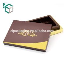 Barato impressão Marrom Escuro padrão de impressão de ouro borda matt laminação cartão marrom inserir trufa pacote de presente porca