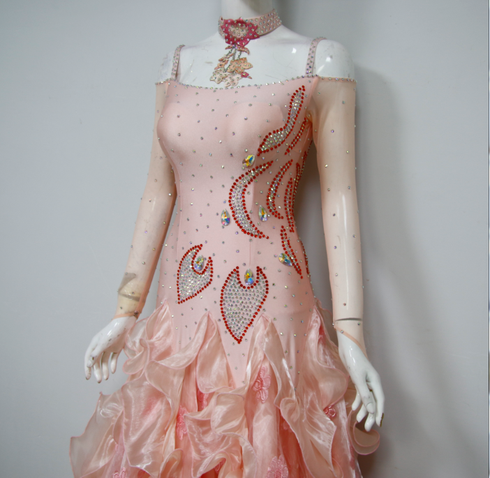 Pink Applique Costumes For Dance Competition