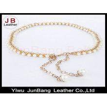 Mujer peal perlas gancho decoración cintura estrecha con cadena de metal