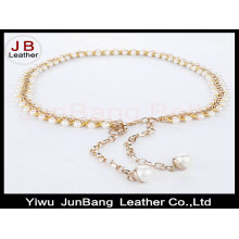 Woman Peal Beads Hook Decoration Narrow Waist Belt with Metal Chain