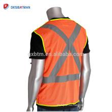 Logotipo personalizado y tamaño Hi-Viz naranja Chalecos de seguridad de tráfico Bolsillos Chaqueta reflectante de malla de poliéster transpirable Cremallera frontal