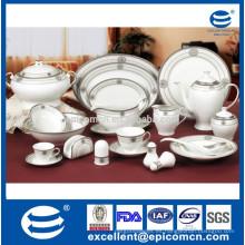 Platos de porcelana de diseño de plata real de porcelana platos de porcelana ovalados