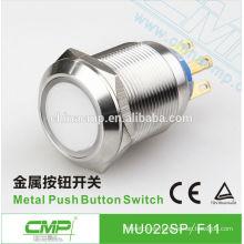 Botón pulsador de 22mm de acero inoxidable CMP momentáneo o con seguro SPST o DPDT impermeable