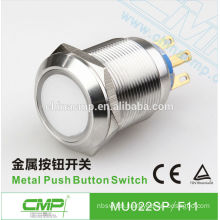 22mm CMP stainless steel momentary or latching waterproof SPST or DPDT 5v led push button