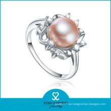 Elegante anillo de perlas de plata de ley (SH-R0165)