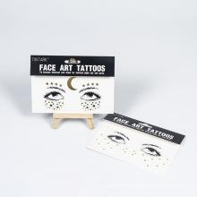 Nouveau autocollant de tatouage art visage personnalisé visage autocollant de tatouage métal maquillage