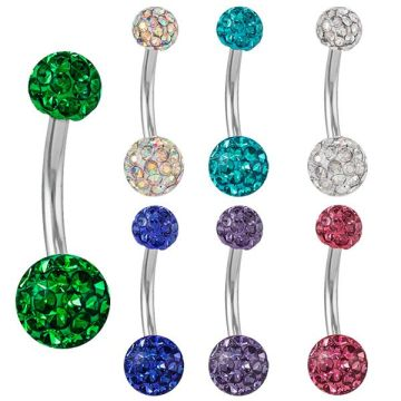 CZ Fixed Gem Ferido Belly Button Ring