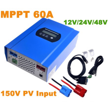 60A MPPT Solar Controller with 12V/24V/48VDC Auto Max 150V PV Input Battery Regulator Charger RS232 Connector