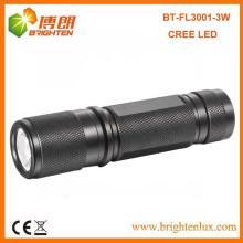 Factory Supply EDC High powered 180lumen en aluminium XPE 3W CREE LED Torch Lampe de poche