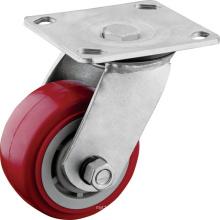 Heavy Duty Red PU ruedas giratorias