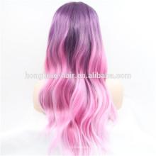 Peruca de cabelo sintético Ombre colorido bonito Peruca dianteira do laço