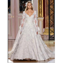 LS0126 See through back lace appliqued lace v neck wedding dresses train princess wedding dresses wedding dresses long sleeve