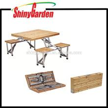 mesa de picnic plegable de madera portátil y sillas, mesa de picnic de madera y banco