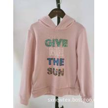 fashion knit fleece hooded shiny sequin grils jacket
