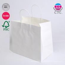 Tamaño personalizado e impresión de bolsa de papel Kraft blanca con mango torcido