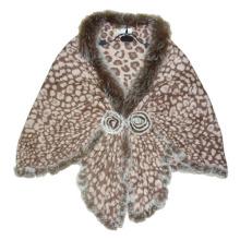 Lady Fashion Khaki Wolle gestrickt Leopard Schal (YKY4142-4)