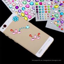 Etiquetas engomadas auto-adhesivas del diamante artificial del fabricante profesional de China, etiqueta engomada de la decoración del teléfono móvil