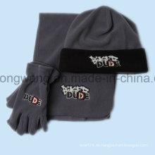 Promotion Winter Warm Lady Stricken Polar Fleece Set