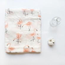 Baby  muslin blanket with flamingo  print