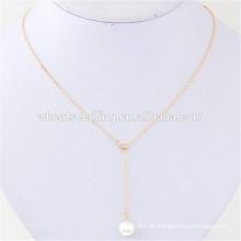 Bulk Sex Clavicle billig benutzerdefinierte einfache Design Perle feine Schmuck Halskette