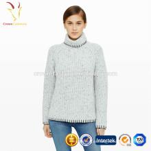 Suéter de cuello alto de invierno caliente de las señoras Suéter de cachemira pesado para las muchachas