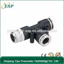 zhejiang ESP macho pneumático executar tee acessórios de mangueira de ar de plástico tipos