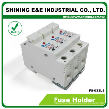 FS-033L3 Din Rail Type With Indicator 3 Pole 32A 600V AC DC Fuse Carrier