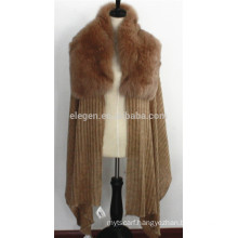 Lady's Acrylic Knitted Winter Poncho Cape Wrap with genuine fox fur