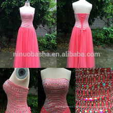 Real Sample 2014 New Pink Strapless Floor-length Lace-up Tulle Made A-Line Evening Dress With Heavily Jeweled Accent NB0537