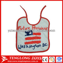 China manufacturer logo printed 100% cotton baby bibs wholesale