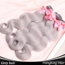 En gros indien humains remy cheveux extensions faisceaux gris couleur cheveux tisse