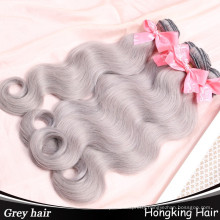 wholesale Indian human remy hair extensions bundles grey color hair weaves