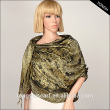 2016 Autumn/Winter shawl hijab and Jacquard floral pashmina with yarn dyed pattern scarf