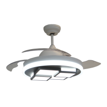 Modern Retractable Ceiling Fan with Square LED Module