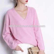 Mujeres personalizadas llanura v-cuello suéter de las mujeres al por mayor con cuello en v pullover