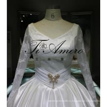 Китай оптовая продажа 2016 люкс свадебное платье завод атласная бальное платье свадебные платья онлайн магазин с иллюзия рукава вечернее платье